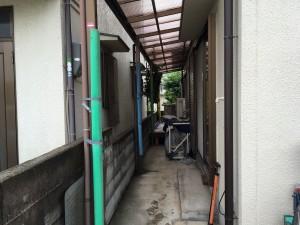 コロナのエコキュート取り外しのため養生 城陽市での取替え工事