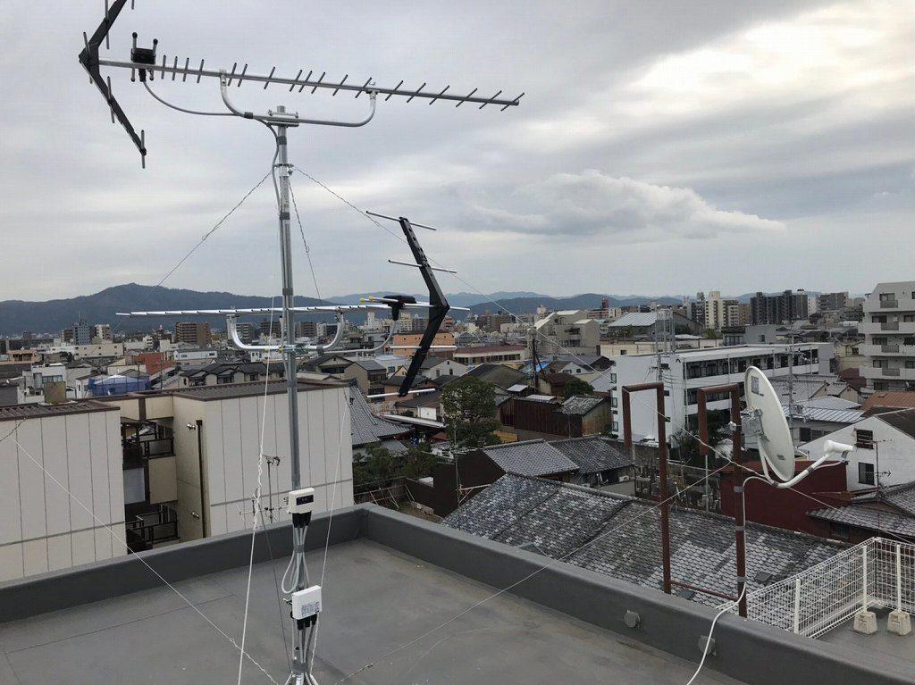 台風のアンテナ復旧工事