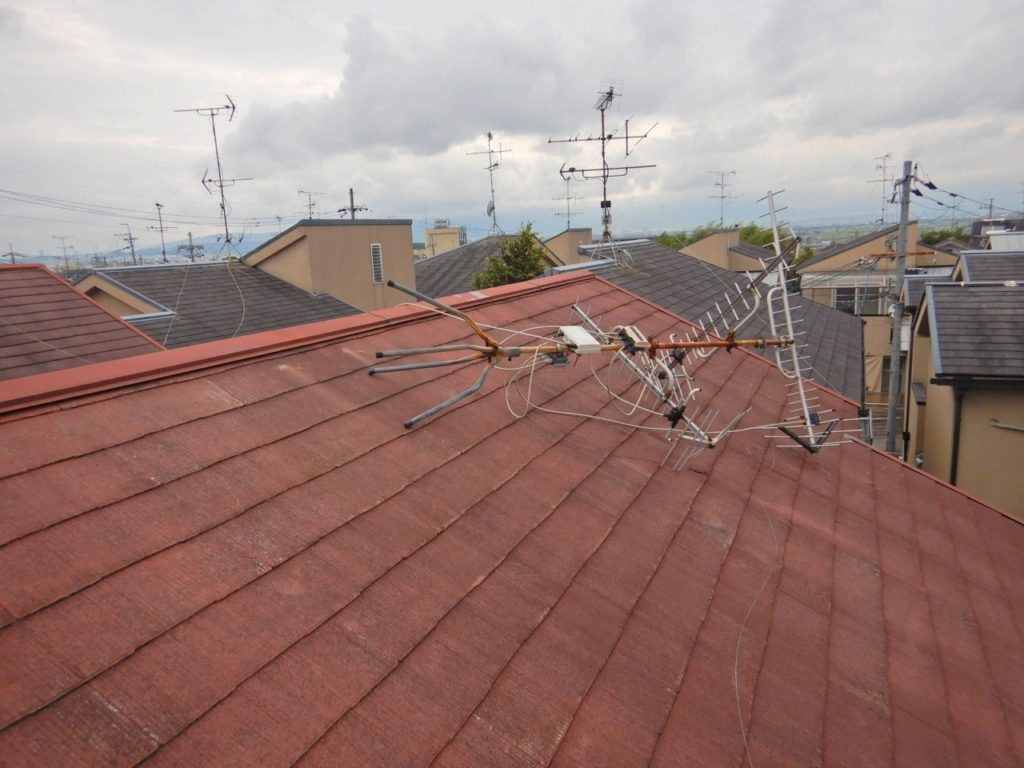 台風でアンテナ転倒