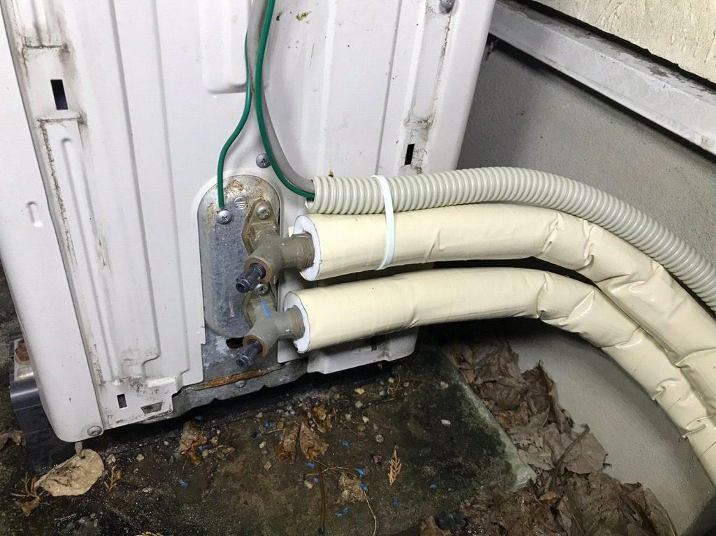 ヒートポンプの配管を修理