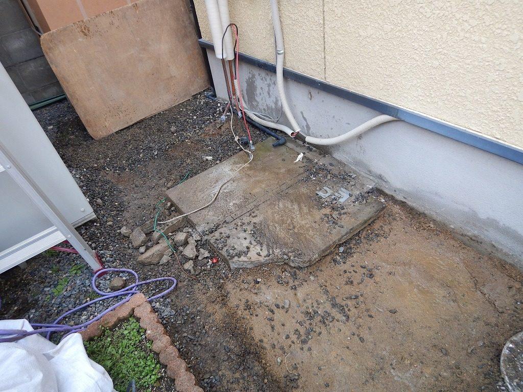 電気温水器を撤去した基礎