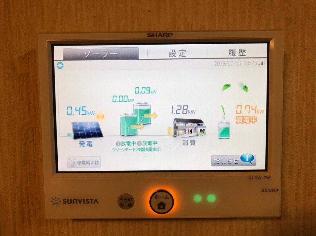蓄電池2台設置のモニター表示