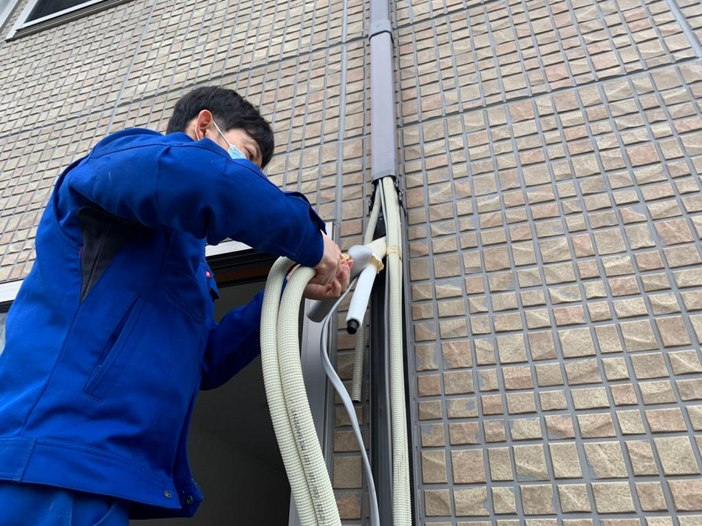 エアコンの配管接続