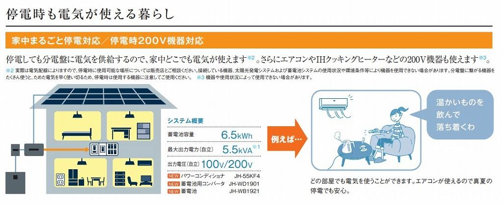 家中まるごと停電対応200Vも使用可能