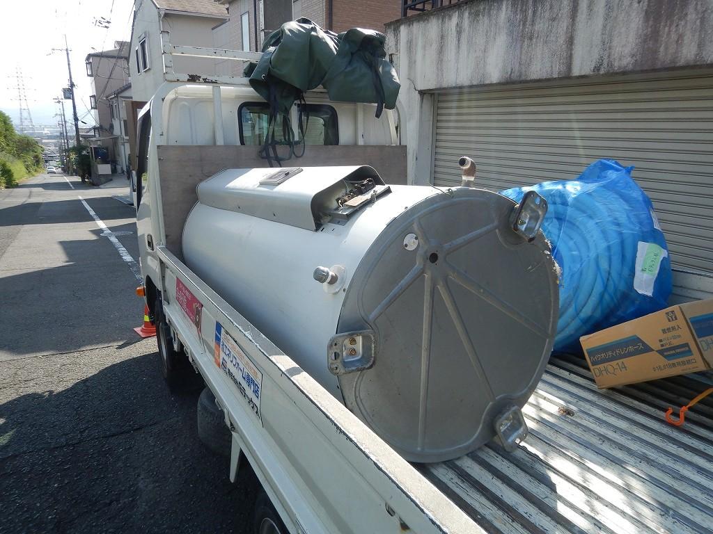 丸形電気温水器の撤去処分