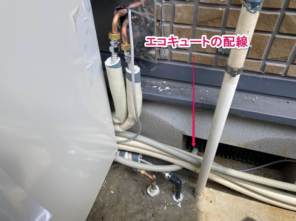 エコキュートの専用配線を床下からする