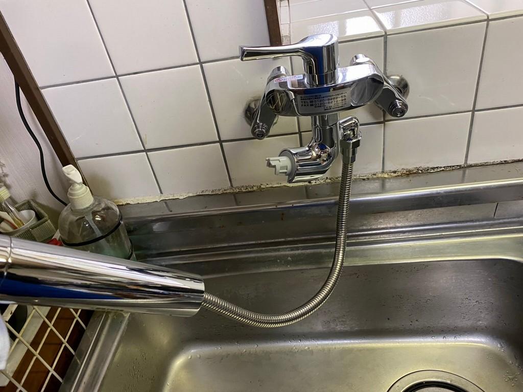 ホース付き 壁出し水栓