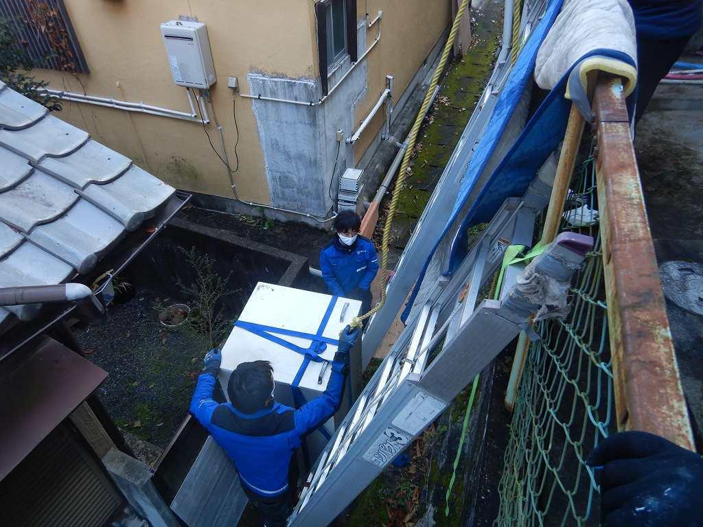 家の裏の電気温水器を撤去